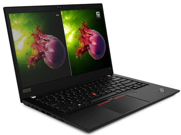 Lenovo ThinkPad T490s showing WQHD display with Dolby Vision alongside FHD display.