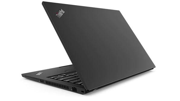 Backside of Lenovo ThinkPad T490 open 80 degrees.