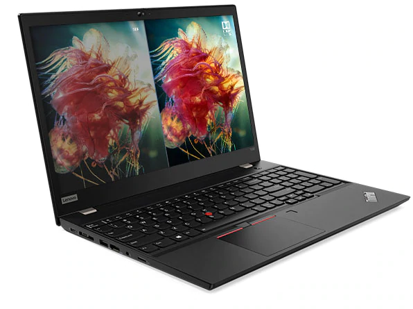 Lenovo ThinkPad T590 showing WQHD display with Dolby Vision alongside FHD display.