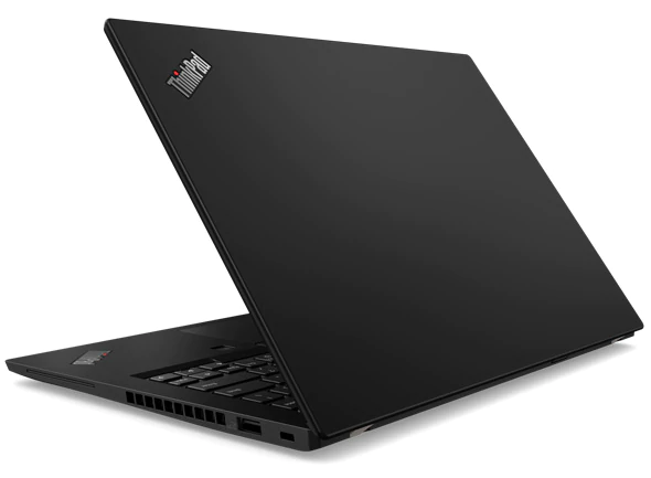 Backside of Lenovo ThinkPad X390 open 80 degrees.