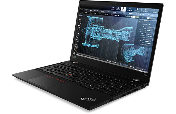 Lenovo ThinkPad P53s mobile workstation open 90 degrees, angled slightly to show right side ports.